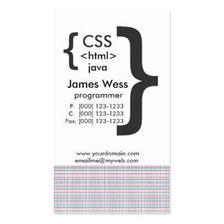 Programador del Web del ordenador de Techie Java Tarjetas De Visita