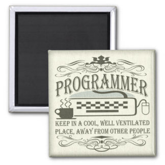 Programador divertido imán cuadrado