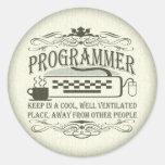 Programador divertido pegatina redonda