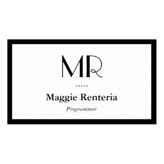 Programador - monograma elegante limpio tarjetas de visita
