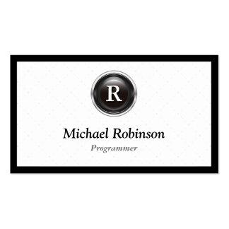 Programador - monograma elegante simple tarjetas de visita
