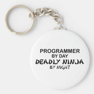 Programador Ninja mortal por noche Llavero Redondo Tipo Pin