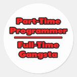 Programador por horas. Gangsta a tiempo completo Etiquetas Redondas
