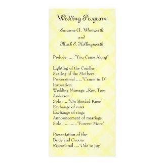 Programas amarillos del boda, boda del jardín, tarjeta publicitaria a todo color