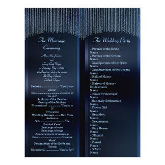 Programas azules chispeantes elegantes del boda de flyer a todo color