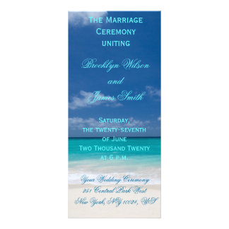 Programas azules de la ceremonia de boda de playa lonas personalizadas