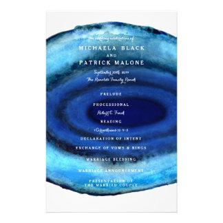 """Programas azules del boda de la ágata folleto 5.5"""" x 8.5"""""""