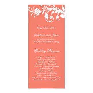 """Programas coralinos del boda invitación 4"""" x 9.25"""""""