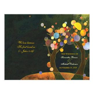 Programas de la ceremonia de boda del doblez del B Tarjeta Publicitaria
