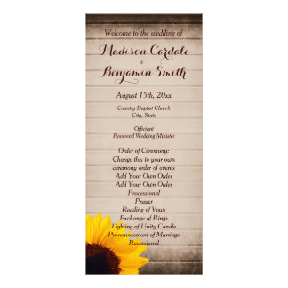 Programas de madera del boda del girasol del plantillas de lonas