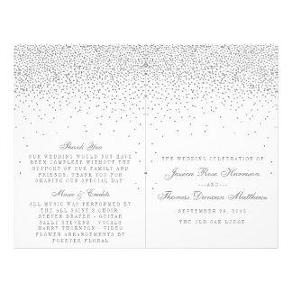 """Programas de plata atractivos del boda del confeti folleto 8.5"""" x 11"""""""