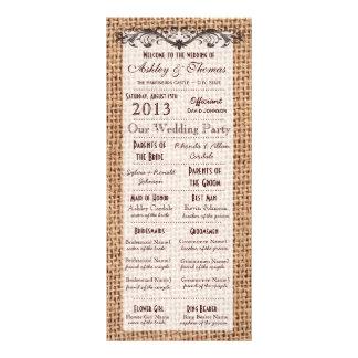 Programas del boda de la impresión de la arpillera diseños de tarjetas publicitarias