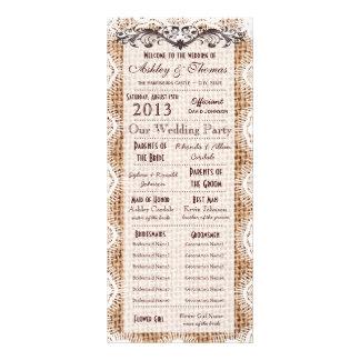 Programas del boda de la impresión de la arpillera lonas personalizadas