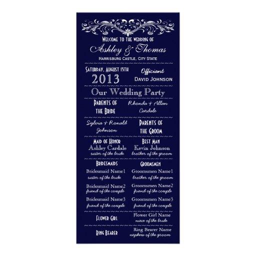 Programas del boda de la marina de guerra del lona personalizada