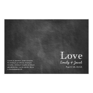Programas del boda de la pizarra tarjetas publicitarias