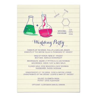 """Programas del boda de la química invitación 5"""" x 7"""""""