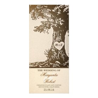 programas del boda del árbol de amor del vintage lona