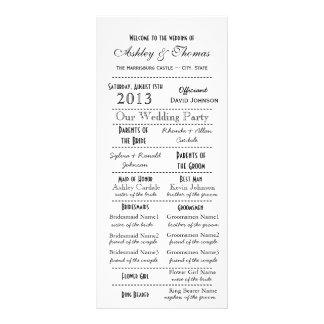 Programas del boda del estilo de la tipografía del