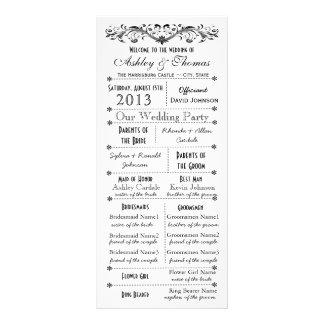 Programas del boda del estilo de la tipografía del tarjetas publicitarias a todo color