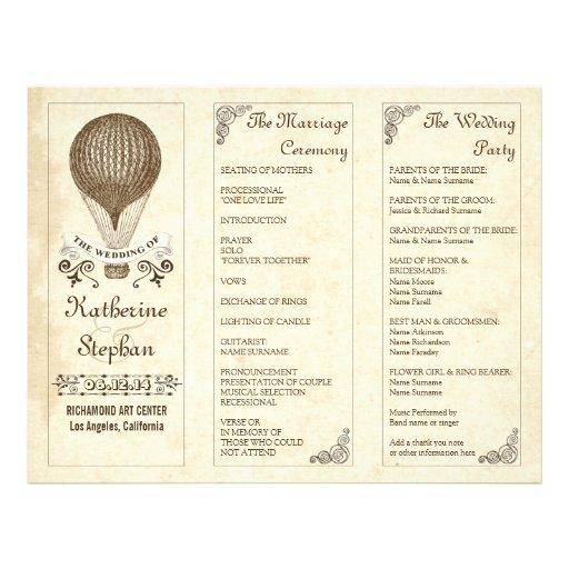programas del boda del globo del aire caliente del tarjetones