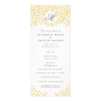 Programas del boda del jardín secreto - amarillo d