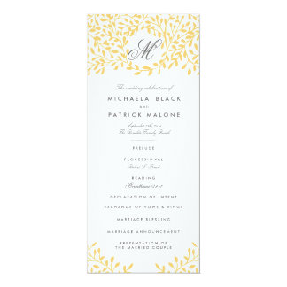 """Programas del boda del jardín secreto - amarillo invitación 4"""" x 9.25"""""""