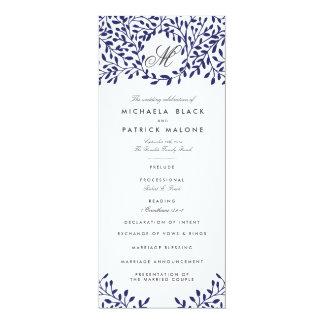 Programas del boda del jardín secreto - marina de invitación 10,1 x 23,5 cm