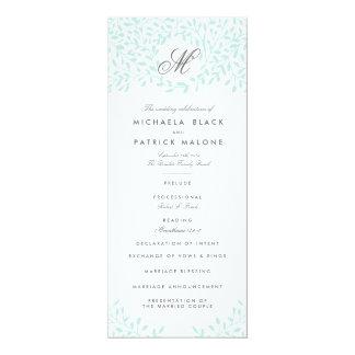 """Programas del boda del jardín secreto - menta invitación 4"""" x 9.25"""""""