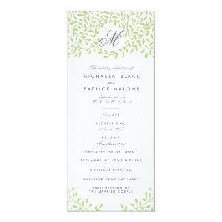 """Programas del boda del jardín secreto - verde invitación 4"""" x 9.25"""""""