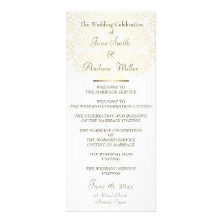 Programas del boda del modelo del oro del damasco tarjetas publicitarias a todo color