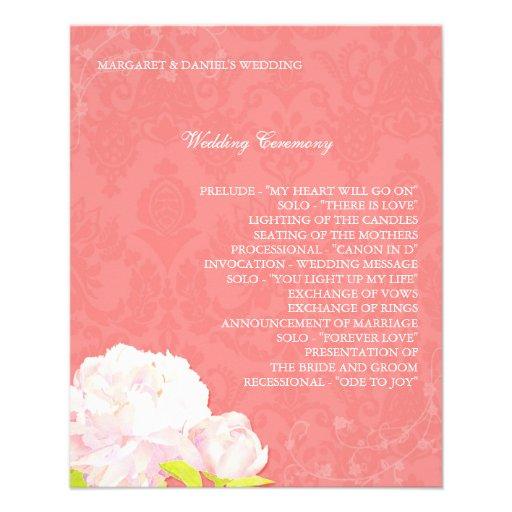 Programas del boda del Peony del arrecife de coral Tarjeton