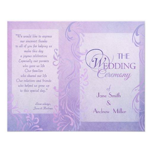 Programas del boda - púrpura tarjeton