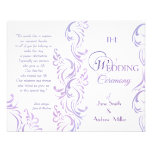 Programas del boda - púrpura y blanco tarjetón