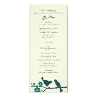 """Programas del vuelo del amor {pavo real} invitación 4"""" x 9.25"""""""