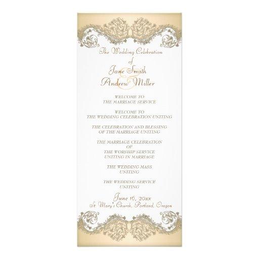 Programas elegantes del boda del damasco beige tarjetas publicitarias a todo color