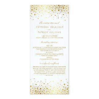 """Programas elegantes del boda del falso de oro invitación 4"""" x 9.25"""""""