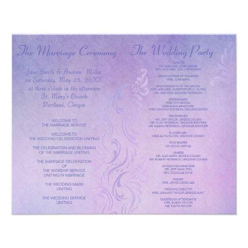Programas elegantes del boda - púrpura tarjeta publicitaria