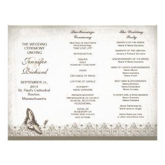 Programas elegantes triples del boda del vintage membretes personalizados