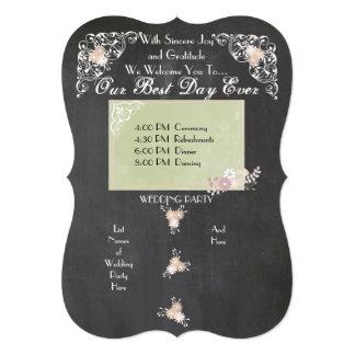 """Programas florales del boda de la pizarra del país invitación 5"""" x 7"""""""