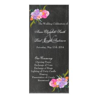 Programas florales del boda de la pizarra lona personalizada