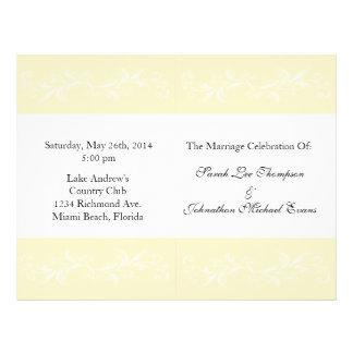 """Programas florales dulces del boda de la vainilla  folleto 8.5"""" x 11"""""""