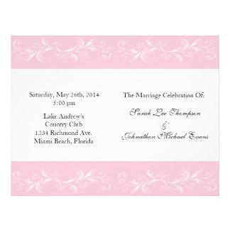 "Programas florales dulces rosados del boda folleto 8.5"" x 11"""