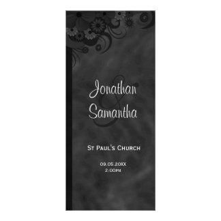 Programas florales negros del boda del gótico del tarjeta publicitaria