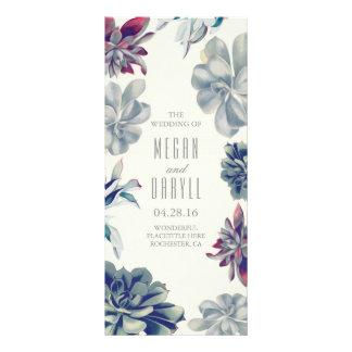 Programas florales suculentos del boda del jardín tarjeta publicitaria