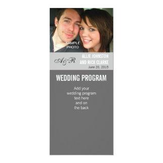 """Programas modernos del boda de la foto invitación 4"""" x 9.25"""""""