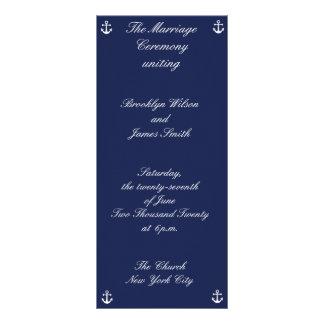 Programas náuticos de la ceremonia de boda de los lona