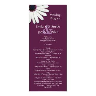 Programas púrpuras del boda de la margarita invitación 10,1 x 23,5 cm