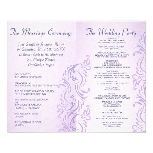 Programas púrpuras del boda del grunge tarjetón