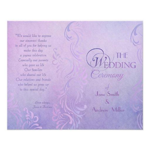 Programas púrpuras del boda flyer personalizado