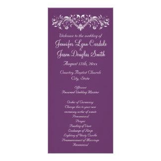 Programas púrpuras reales del boda del Flourish Diseños De Tarjetas Publicitarias